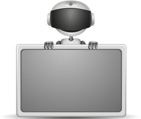 Robot vector holding a screen