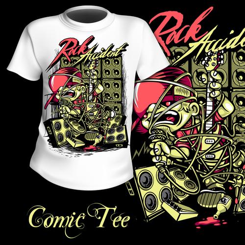 Rock singer t shirt printing pattern design vector