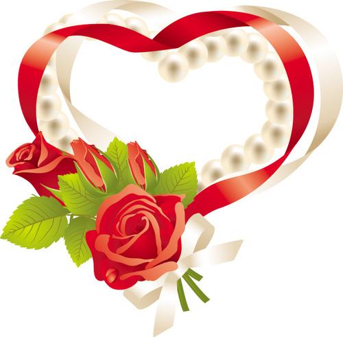 Rose heart pattern vector