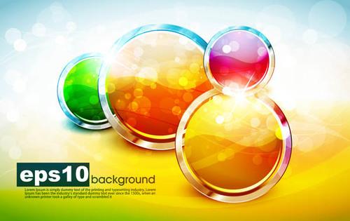 Round colorful button icon vector