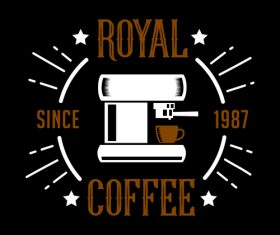 Royal coffee badges logo vector