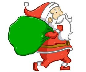 Running Santa Claus vector carrying gifts