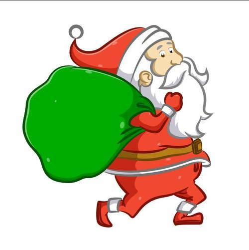 Running Santa Claus vector carrying gifts