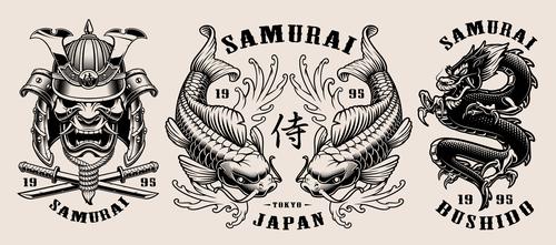 Samurai badge vector