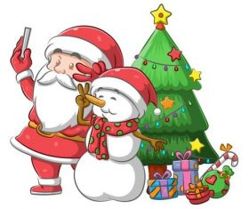 Santa Claus and Snowman selfie vector
