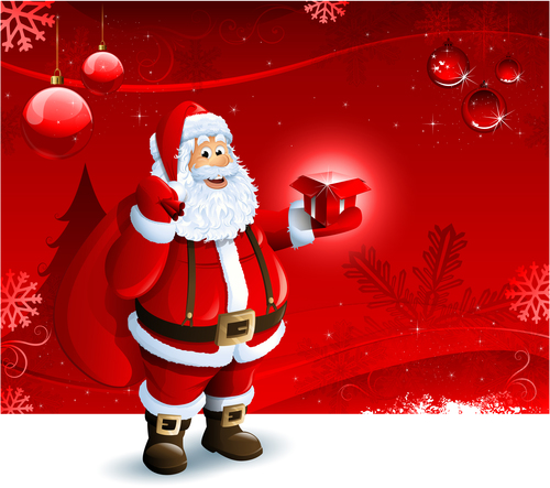 Santa Claus hand with gift vector