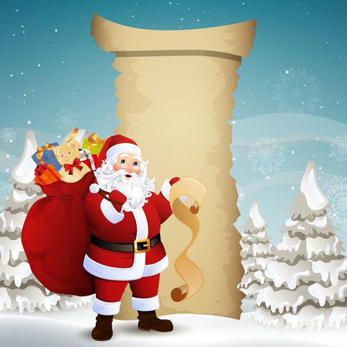 Santa Claus holding a list of gifts vector