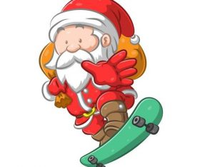 Santa Claus on a skateboard giving gifts vector
