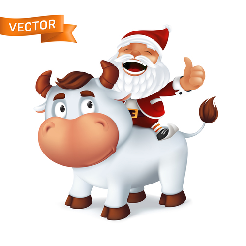 Santa Claus riding cow cartoon icon vector