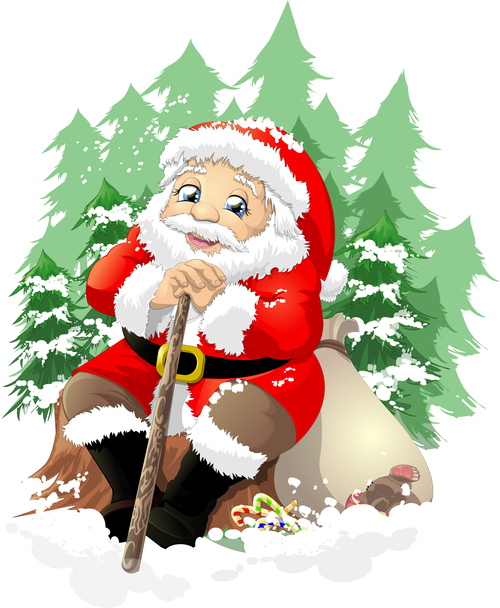 Santa Claus sitting down and resting vector