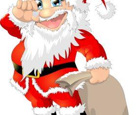Santa Claus vector holding a pentagram snowflake