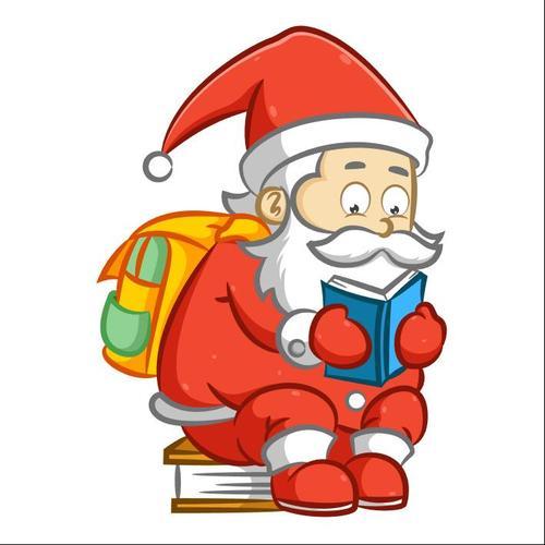Santa Claus vector reading a book
