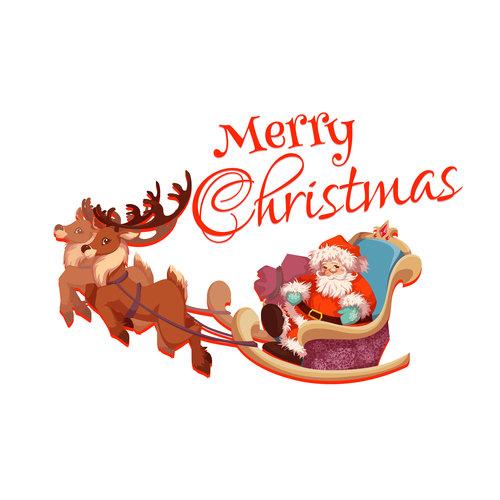 Santa Claus vector sitting on a sleigh
