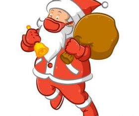 Santa Claus vector wearing a mask giving gifts