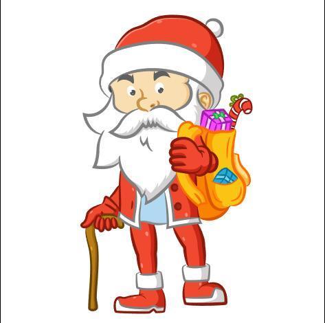 Santa Claus vector with a cane