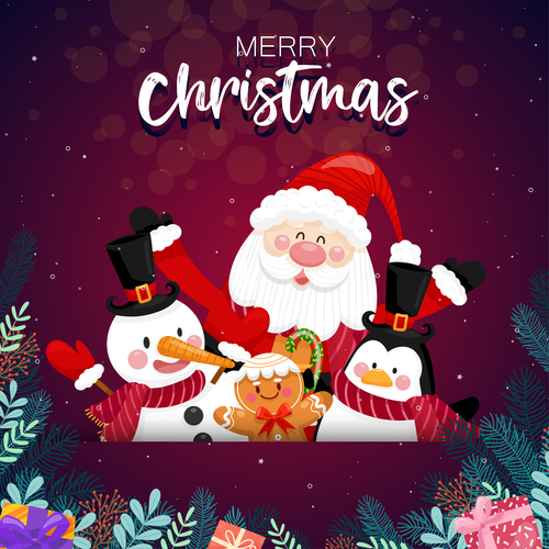 Santa and friends background vector