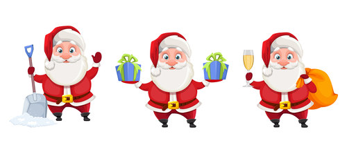 Santa cartoon illustration vector in different poses