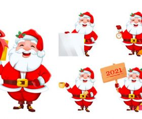 Santa celebrating 2021 new year cartoon illustration vector