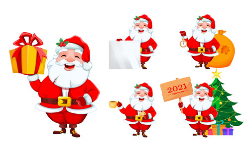 Santa celebrating 2021 new year cartoon illustration vector