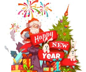 Santa claus new year gift vector