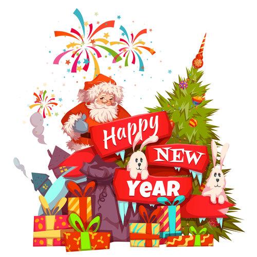 Santa claus new year gift vector