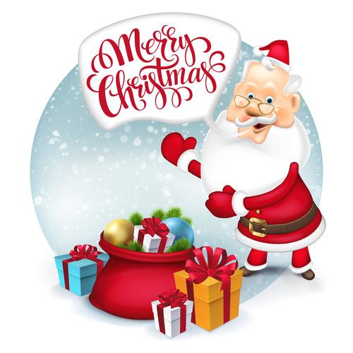 Santa claus new year greeting vector