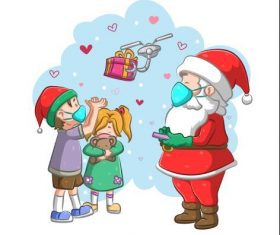 Santa controls drone to give gifts to children vector