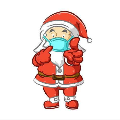 Santa reminds to wear a mask vector