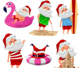 Santa vacation cartoon illustration vector