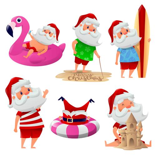 Santa vacation cartoon illustration vector