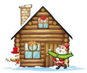 Santas wooden house vector