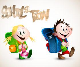 School fun cartoon illustration vector