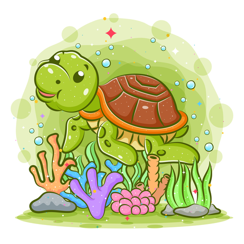 Sea turtle cartoon watercolor illustration vector