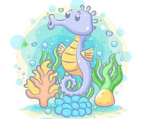 Seahorse cartoon watercolor illustration vector