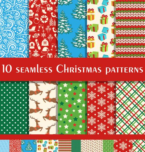 Seamless christmas patterns vector