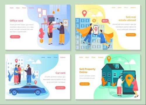 Sell property online cartoon illustration vector