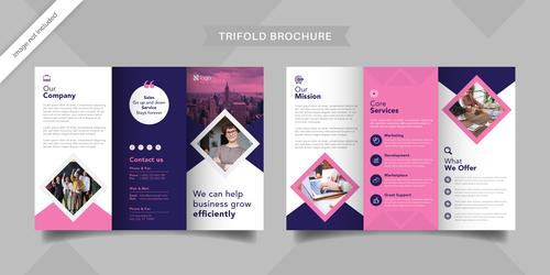 Service management trifold brochure vector