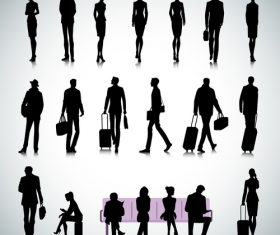 Set of people in an airport silhouette vector