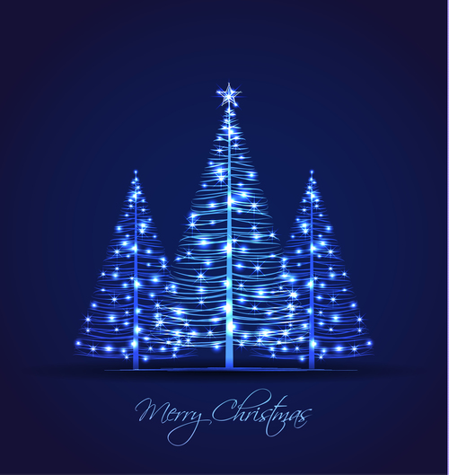 Shiny christmas tree vector
