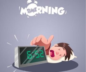 Shut off the alarm clock vector