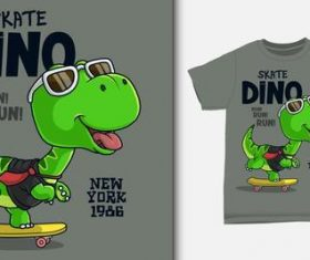 Skate dino T-shirt printing design vector
