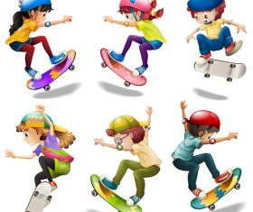 Skateboarding kids cartoon vector