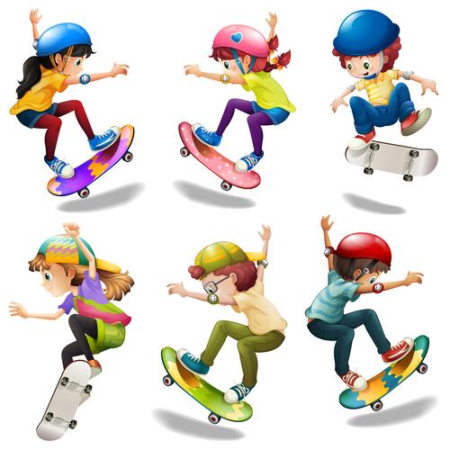 Skateboarding kids cartoon vector