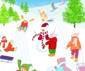 Skiing kids cartoon vector