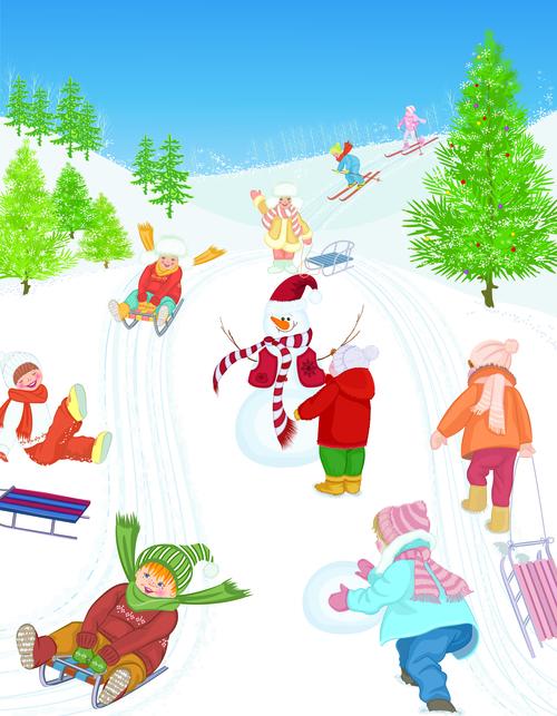 Skiing kids cartoon vector