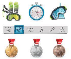 Skiingand medal vector