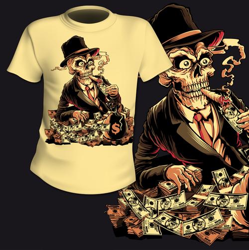 Skull t shirt printing pattern design vector