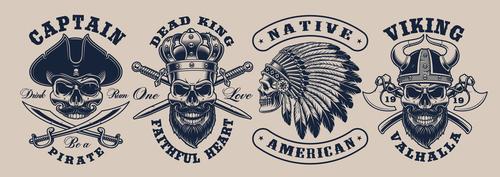 Skull tattoo logo vector