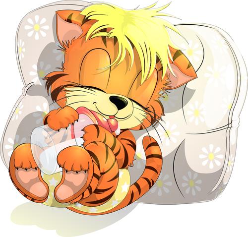 Sleeping animal cartoon vector holding a baby bottle