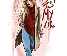 Slogan of beautiful young girl illustration vector